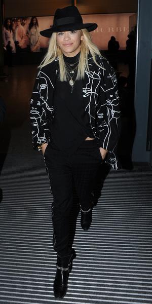 Rita Ora arrives at Heathrow Airport in London, England - 12 February 2014