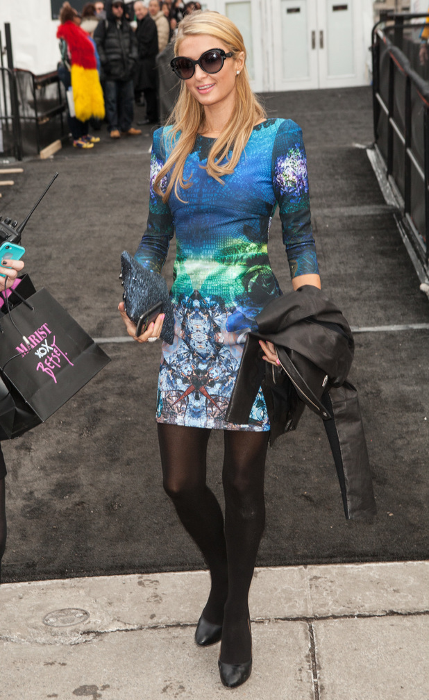 Paris Hilton steps out at the Betsey Johnson autumn/winter '14 fashion show at New York Fashion Week - 12 February 2014