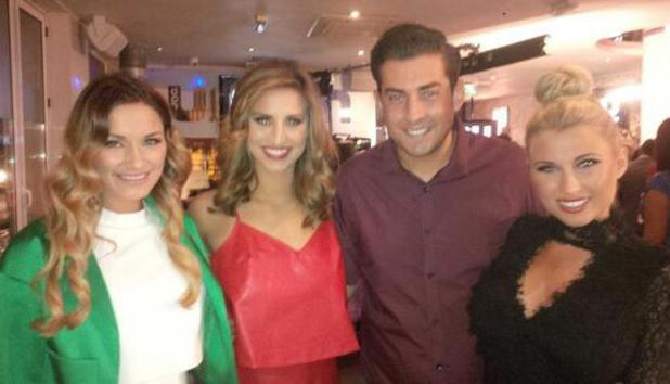 TOWIE's James 'Arg' Argent, Ferne McCann, Sam Faiers and Billie Faiers filming scenes for the show. (13 February).