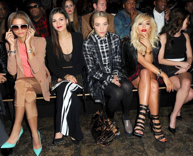 Zendaya, Victoria Justice, Mia Moretti, Rita Ora and Zoey Deutch at the DKNY autumn/winter 2014 show at New York Fashion Week - 9 February 2014