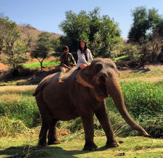 Charlotte Crosby filming new TV show in India, gets henna, rides an elephant- February 2014