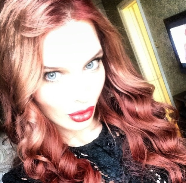 Helen Flanagan shows off her new red hair in a selfie - 12 February 2014