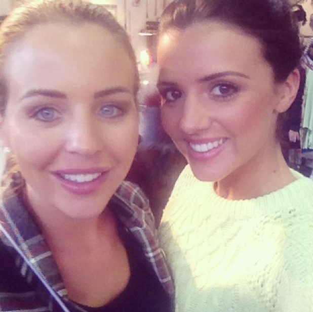 Lydia Bright and Lucy Mecklenburgh catch up at Pure London, 11 Feb 2014