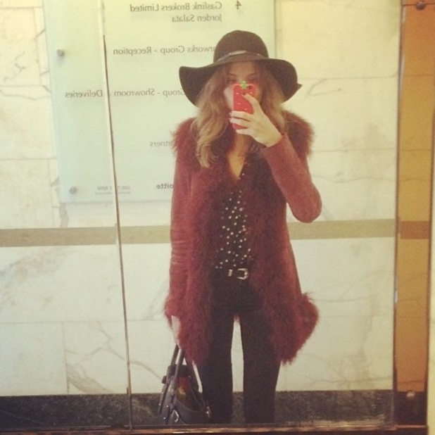 Millie Mackintosh in hat and skinny jeans