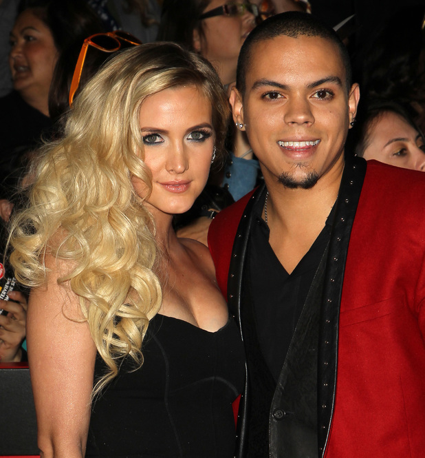 """Evan Ross and Ashlee Simpson at the """"The Hunger Games: Catching Fire"""" - Los Angeles Premiere At Nokia Theatre L.A. Live. 11/19/2013"""