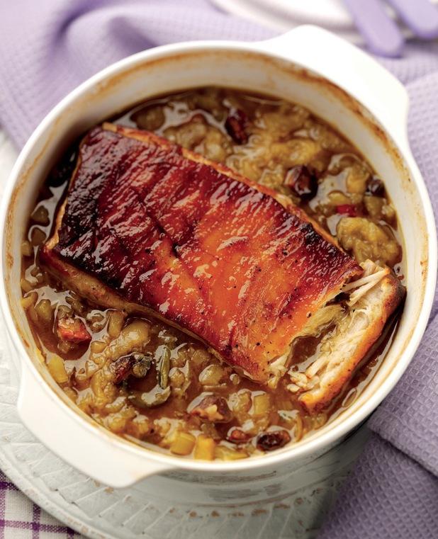 Cider pot roast of pork belly with Bramley apple