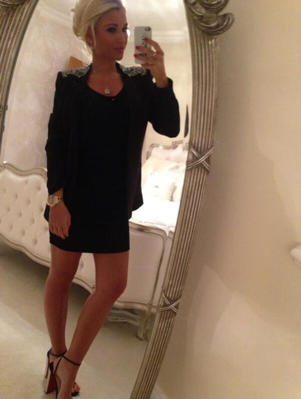 TOWIE's Billie Faiers wears little black dress and heels for night out - Feb 2014