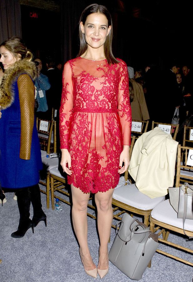 Katie Holmes steps out at the Marchesa autumn/winter 2014 show at New York Fashion Week - 12 February 2014