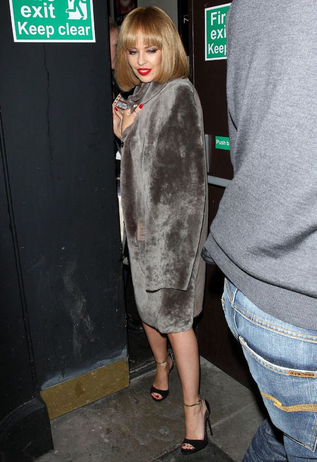Kylie Minogue leaving the Old Blue Last Pub in Shoreditch London, Britain - 13 February 2014