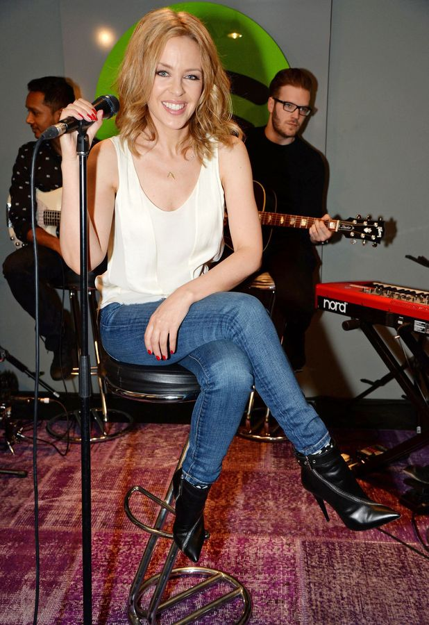 Kylie Minogue performs at the Spotify office in London, Britain - 13 February 2014