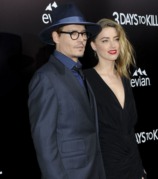 Johnny Depp and Amber Heard at the premiere of 3 Days To Kill, Los Angeles, 12 February 2014