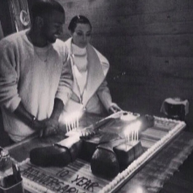 Kim Kardashian and Kanye West in a picture Instagrammed by Kim on 11 February 2014.