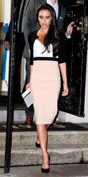 Victoria Beckham wears two-tone dress on 10 September 2013