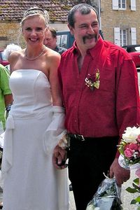 Samantha Brick and husband Pascal on their wedding day for debate