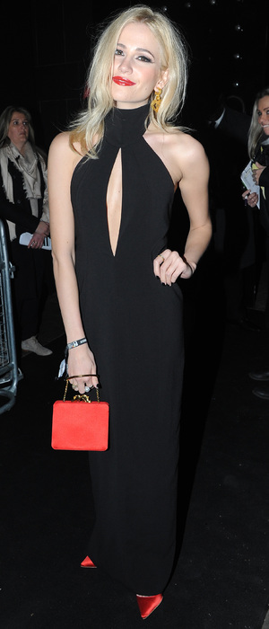 Pixie Lott wears a long black dress for the Brits after party - London 19th February 2014