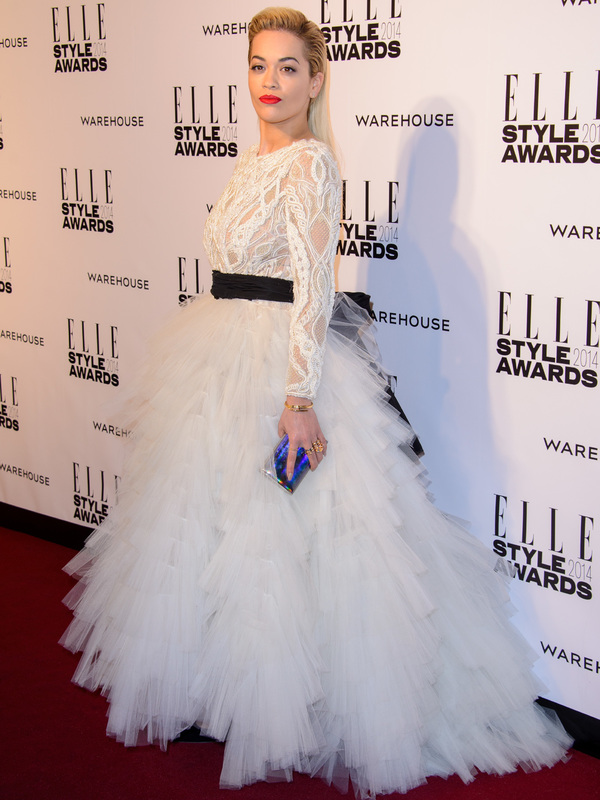 Rita Ora wears a long white dress with full skirt to the Elle Style Awards - London, 18th February 2014