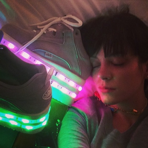 Lily Allen takes an Instagram picture with her Topshop x Ashish light-up Buffalo platform trainers - 17 February 2014