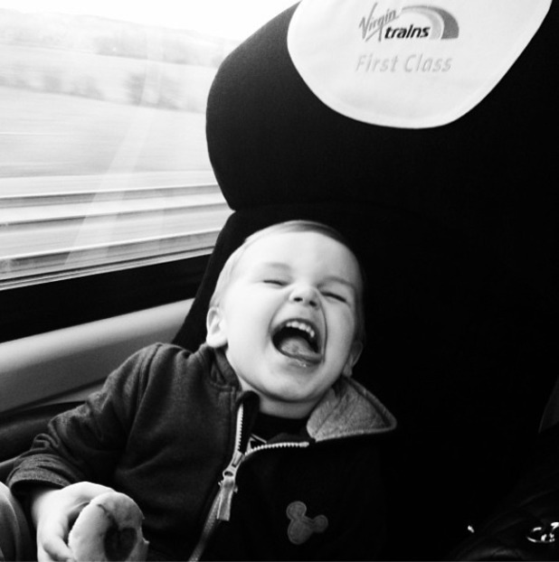 Danielle Lloyd's son on a train
