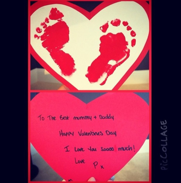 Frankie Sandford's baby son Parker sends his mum and dad a Valentine - Feb 2014