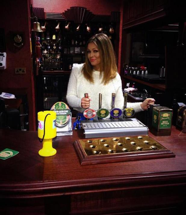 Kimberley Walsh poses in the Rovers Return on the set of Coronation Street. (17 February 2014).