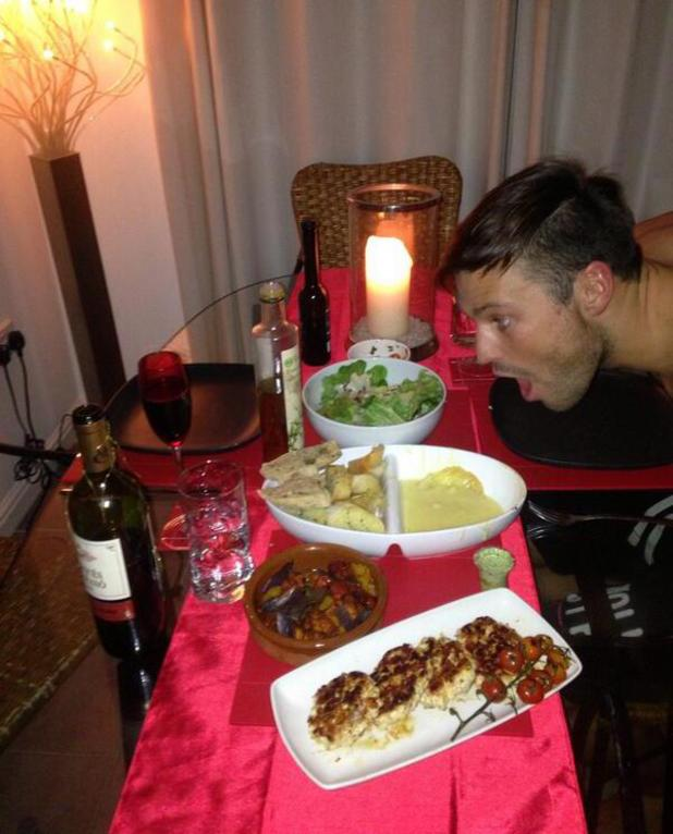 Mark Wright is surprised with meal cooked by Michelle Keegan - 16 Feb 2014