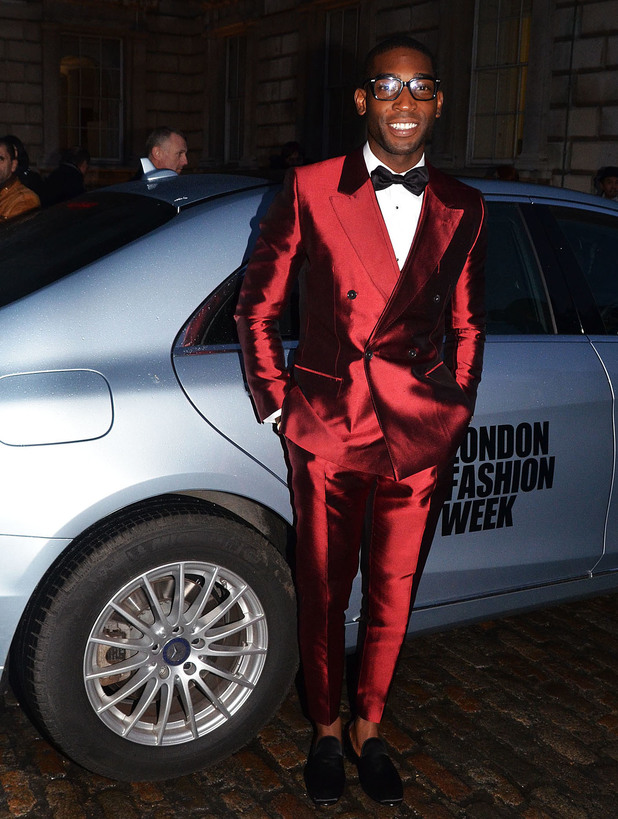 Simon Gao show, Autumn Winter 2014, London Fashion Week, Britain - 18 Feb 2014 Tinie Tempah