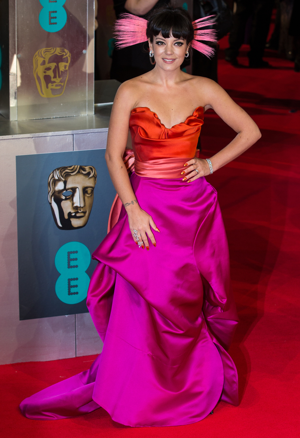 Lily Allen at the BAFTAs 2014 held at the Royal Opera House in London - 16 February 2014