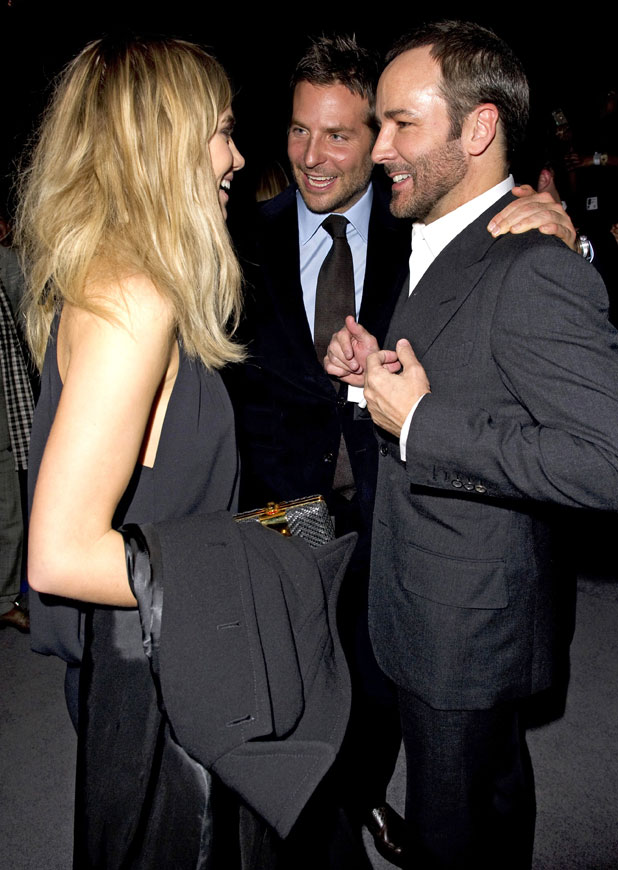 Bradley Cooper and Suki Waterhouse chat to Tom Ford after the Tom Ford show at London Fashion Week, 17 February 2014