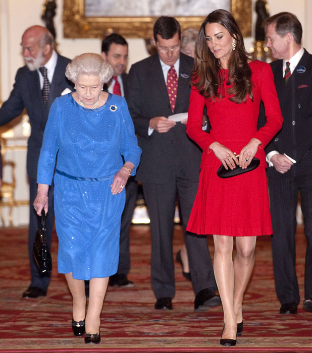 Queen Elizabeth II and Catherine Duchess of Cambridge, Reception for the Dramatic Arts, Buckingham Palace, London, Britain - 17 Feb 2014