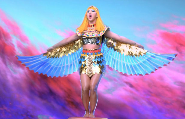Katy Perry in her Dark Horse music video, February 2014
