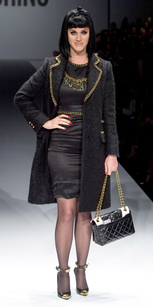 Katy Perry walks Moschino catwalk for Milan Fashion Week on 20 February 2014