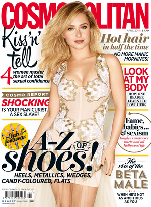 Hayden Panettiere on the front cover of Cosmopolitan UK's April issue.