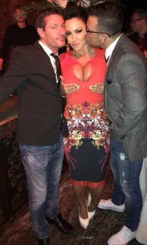 Jodie Marsh, Dean Gaffney and Ryan Thomas at David Gest party, London, 23 Feb 2014