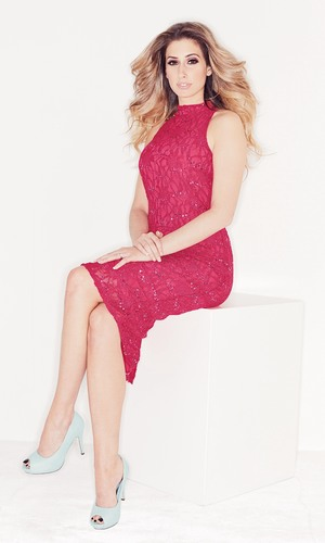 Stacey Solomon, who is the exclusive face of Lookagain.co.uk, models Sequin Lace Halterneck Dress by Oli. Wednesday 26 February 2014..
