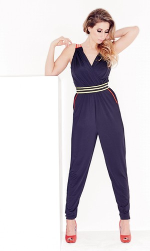 Stacey Solomon, who is the exclusive face of Lookagain.co.uk, models Contrast Jumpsuit by Little Mistress. Wednesday 26 February 2014..