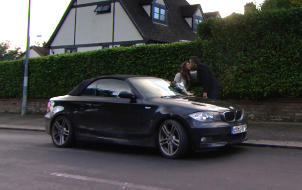 TOWIE's Lewis Bloor leaves a rose on Grace Andrews' car - 26 Feb 2014 - DON'T USE, CAR REG