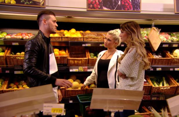 TOWIE: Charlie Sims bumps into Sam and Billie Faiers in the supermarket.