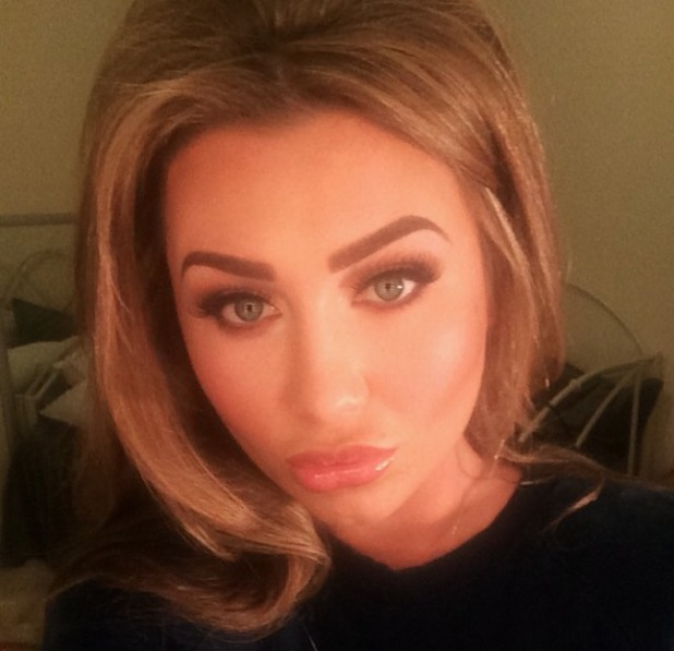 Lauren Goodger poses for make-up close-up, courtesy of Krystal Dawn, 25 February 2014