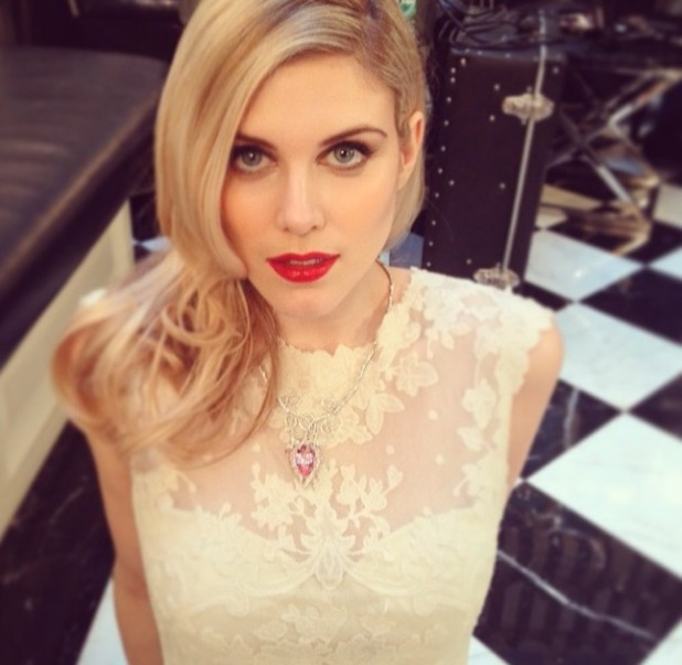 Ashley James does a Millie Manderson and rocks red glossy lips, 24 February 2014