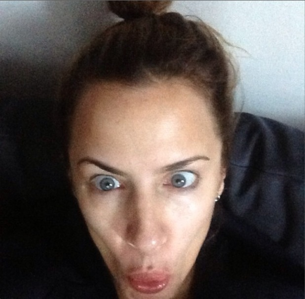 Caroline Flack's no make-up selfie, pulling a funny face, 24 February 2014
