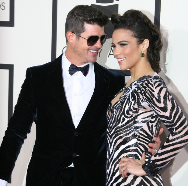 Robin Thicke and Paula Patton at The 56th Annual GRAMMY Awards held at the Staples Center - Arrivals 01/26/2014