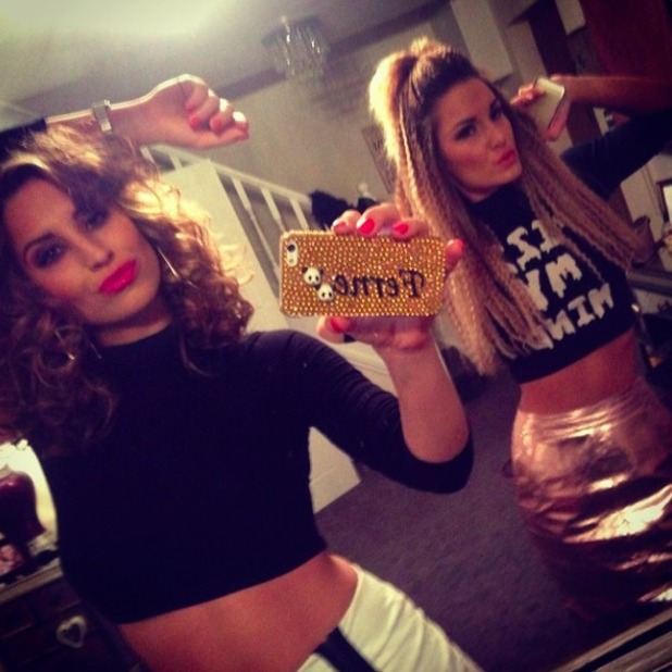Ferne McCann and Sam Faiers strike a pose before attending Beyoncé concert at London's O2, 28 February 2014
