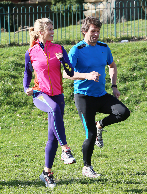 Amy Willerton and dad Bruce at the London Marathon Pasta Party, Enfield, London, Britain - 22 Feb 2014