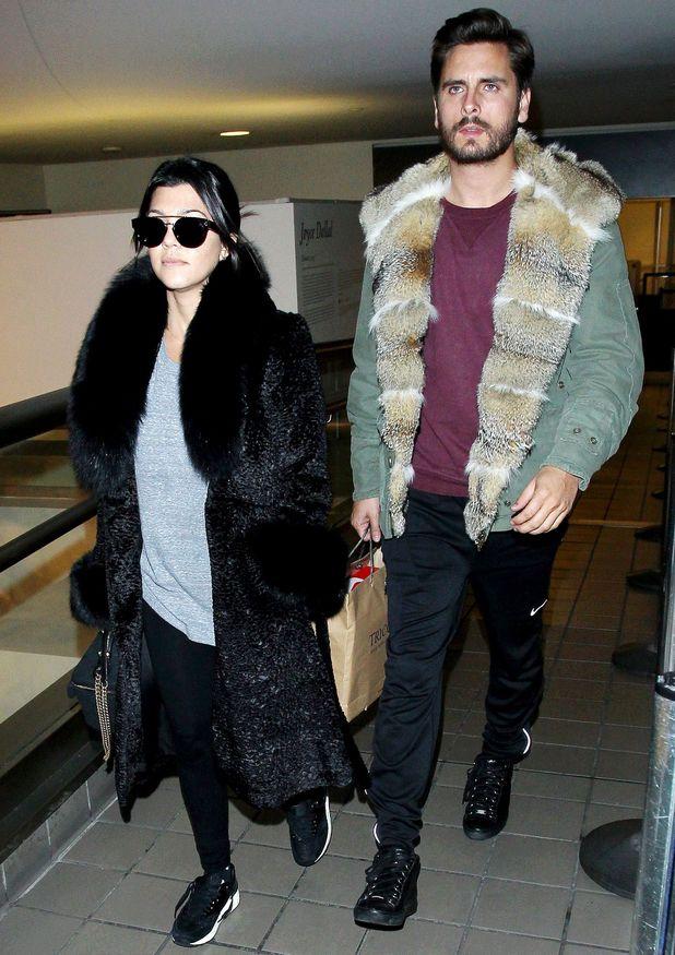 Kourtney Kardashian and Scott Disick arriving at the Los Angeles International Airport, America - 24 Feb 2014
