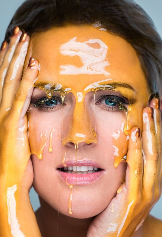Caroline Flack covers herself in honey for Manuka Doctor campaign shoot - February 2014