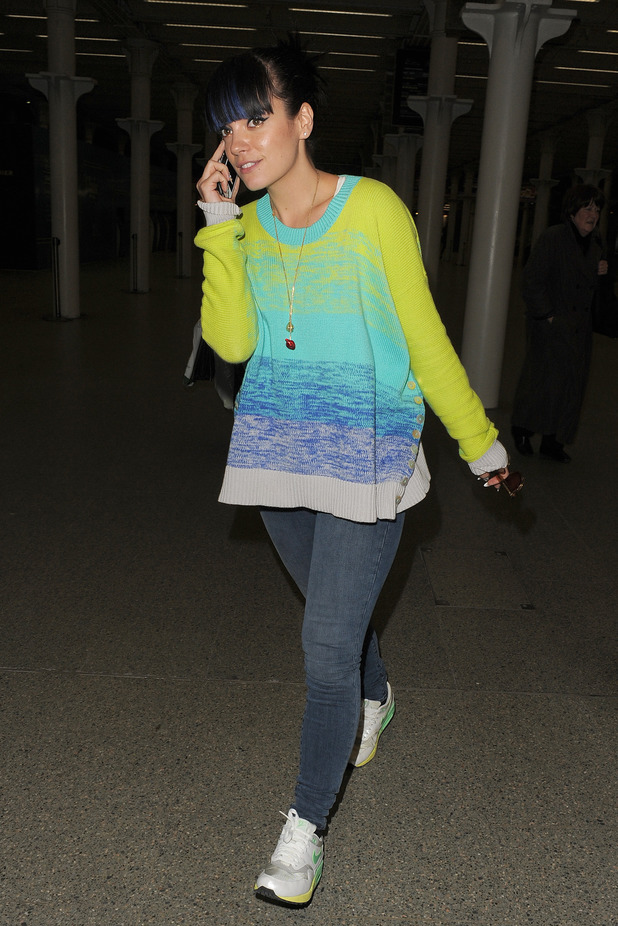 Lily Allen arriving back in London, on a Eurostar train from Paris - 25.2.2014