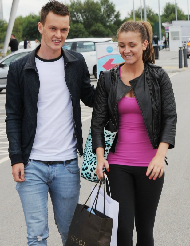 Brooke Vincent and Josh McEachran leaving Salford City Reds Stadium, August 2013