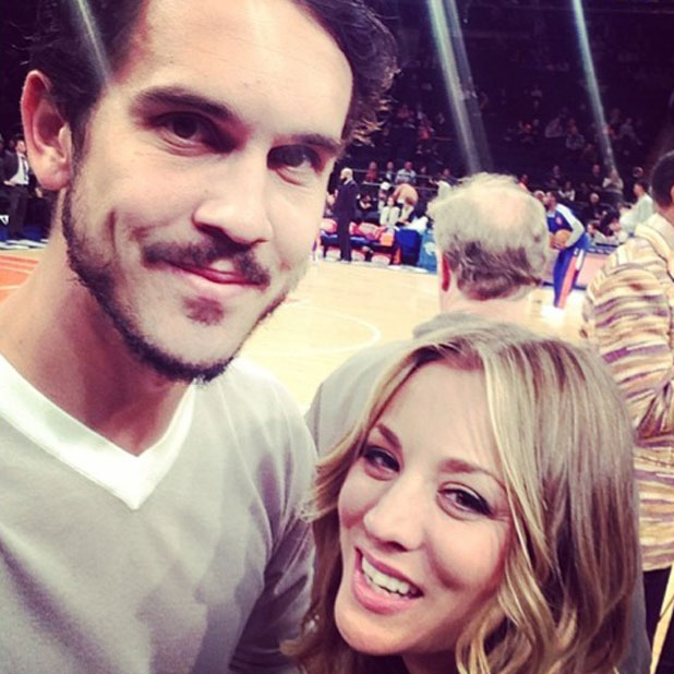 "Kaley Cuoco and husband Ryan Sweeting at a basketball game, posted 24 February 2014. ""Ok everyone knows I ❤️ my Lakers, but tonights Knicks game @ MSG was a fricken blast! #ilovebasketballwestcoasteastcoast."""