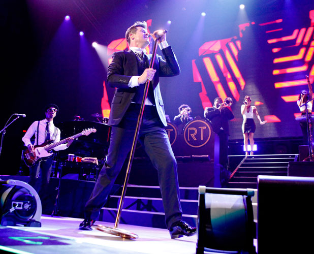 Robin Thicke in concert at the Patriot Center, Fairfax, Virginia, America - 27 Feb 2014