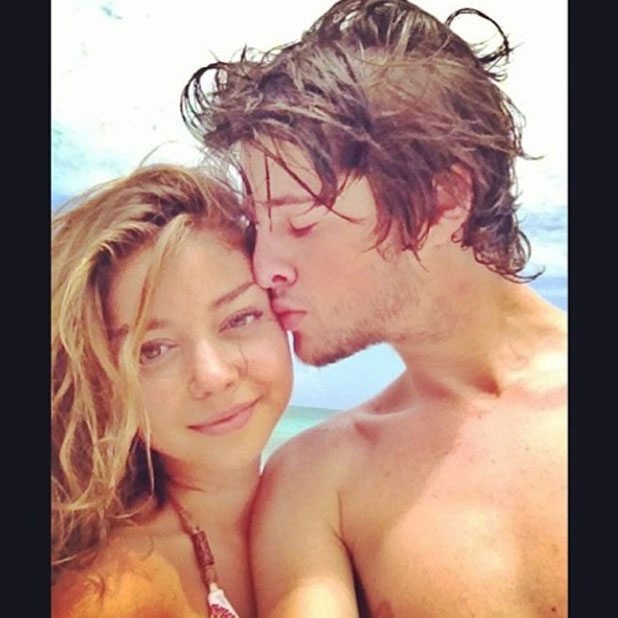 Sarah Hyland poses with boyfriend Matt Prokop for a snap to celebrate their two-week anniversary, February 2014